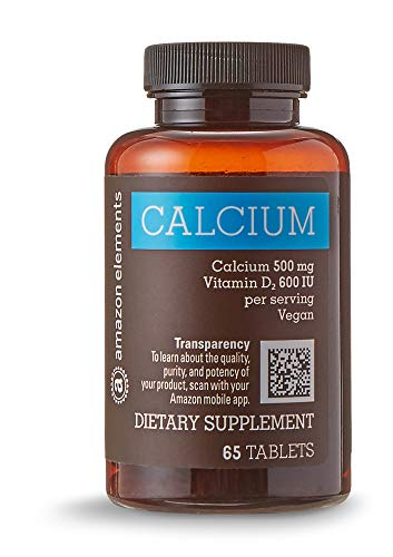 Amazon Elements Calcium 500mg plus Vitamin D, One Daily, 65 Tablets, 2 month supply