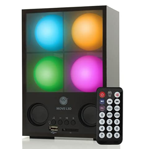 GOgroove Move L3D Sound Activated Light Show Speaker Box - Multicolor Balls Pulse to the Beat - Works With Keyboards , Electronic Drum Kits , MIDI Controllers , and More Electronic Instruments w/ 3.5mm AUX (Light Pulse Cable Aux)