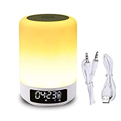 LK&smart Night Light & Alarm Clock with Bluetooth Speaker, Smart Touch Sensor Bedside Lamp, (Dimmable 3 Level Warm White Light & Six Color Changing RGB, Micro SD Supported)