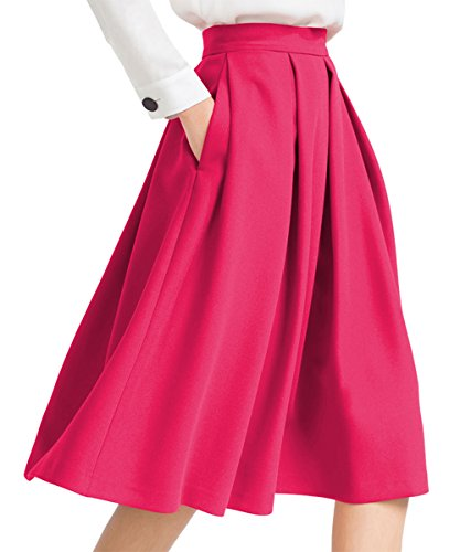 Yige Women's High Waisted A line Skirt Skater Pleated Full Midi Skirt Pink US4