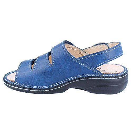 Finn Comfort Womens Saloniki 2557 Leather Sandals Mozart Bluette