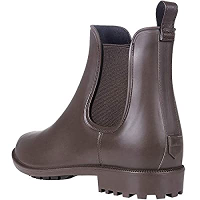 Litfun Women's Waterproof Ankle Rain Boots - Brown Matte Short Rain Boot Chelsea Boots Elastic Rain Shoes BR41 | Rain Footwear
