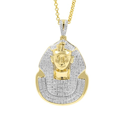 1 Carat Diamond Pharaoh Head Religious Mens Hip Hop Pendant in Yellow Gold Over 925 Silver (I-J, I1-I2) by Isha Luxe-Hip Hop Bling