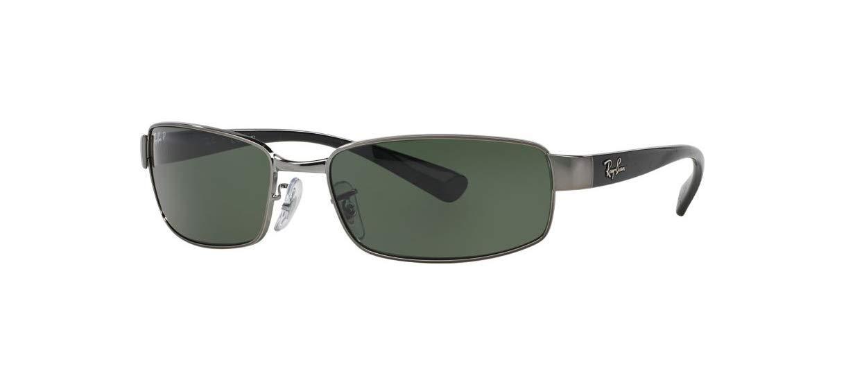 Ray-Ban RB3364 Rectangular Metal Sunglasses, Gunmetal/Polarized Green, 62 mm