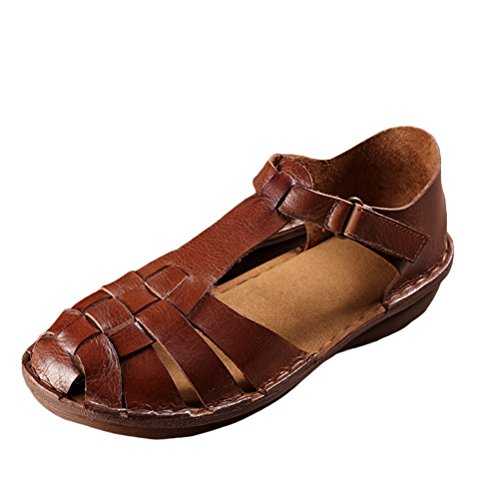 Mordenmiss Women's New Leather Strappy Roman Gladiator Sandals Flats Brown 36