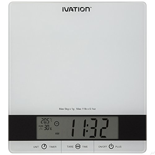 Digital Kitchen Scale w/Timer, Clock, Temperature & RH Levels – Provides Super...