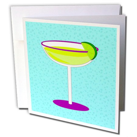 3dRose Bright Green Margarita in Glass with Lime - Blue Background - Greeting Cards, 6 x 6 inches, set of 6 (gc_57115_1)