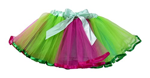 Dancina Tutu Girls' Pretty Dance Recital Performance Costume w/ Soft Satin Bow 2-7 years GreenPink