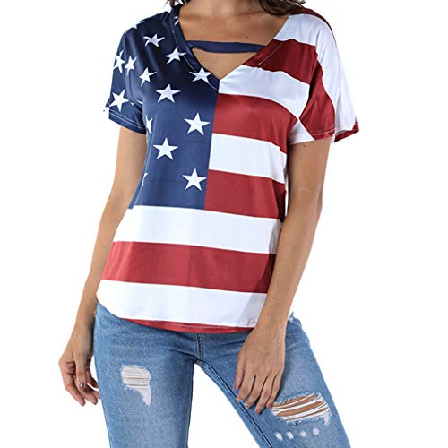 Bravetoshop Short Sleeve Top Women,Loose Blouse Star Striped USA Flag America Belt T-Shirt Top for Girls(Red,L)