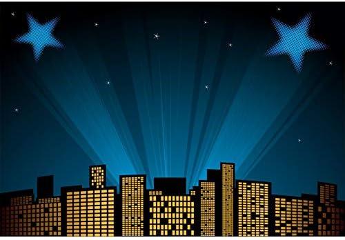 Baocicco 10x7ft Vinyl Nightscape Backdrop Cartoon Moon Photography Background Twinkle Stars Shiny Halos Room Decors Wallpaper Baby Shower Backdrop Children Baby Adults Portraits Photo Studio