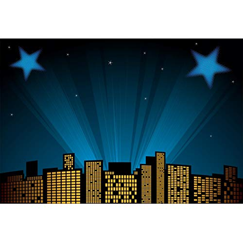 Baocicco 5x3ft Cartoon City Night Scene Backdrop Superhero Background Mysterious Lights Shiny Stars Photography Background Boy's Birthday Party Baby Shower Boys Kids Portrait Studio -