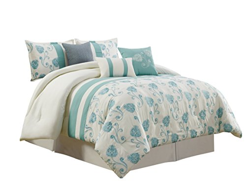 (Chezmoi Collection Calais 7-Piece Ivory Teal Floral Embroidered Comforter Set, California King)