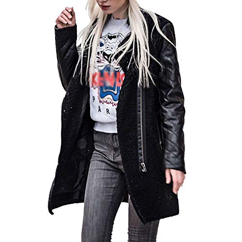 Photno Womens Coats Ladies Fashion Slim Side Zip Leather Biker Bomber Long Jackets Overcoat Windbreaker Outwear Black