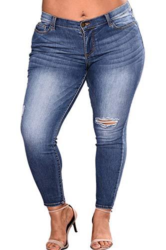 Alta Ripped Women Jeans Yacun Plus De Cintura Denim Oscuro Azul Pantalones Skinny Size xqFTxn8wA4