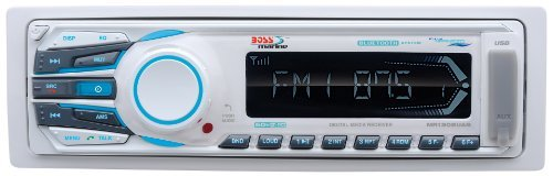 BOSS Audio MR1308UAB Single Din, Bluetooth, MP3 / WMA / USB / SD AM/FM Weather-Proof Marine Stereo, (No CD/DVD), Detachable Front Panel, Wireless Remote
