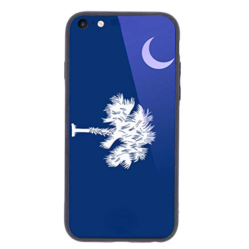 for iPhone 6 Plus iPhone 6s Plus Tempered Glass Case State Flag of South Carolina TPU Casing HD Shell Anti Scratch Cover Protector 5.5 inch with Apple iPhone6P iPhone6sP 6P 6SP Case