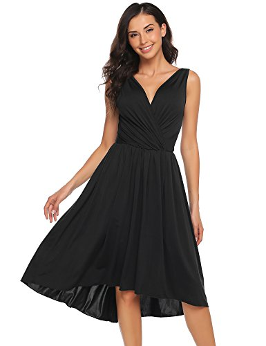 ANGVNS Women Voguish Sleeveless Deep V-Neck Dress Empire Waist High Low Swing Dress Black XXL - Black Dinner Dress