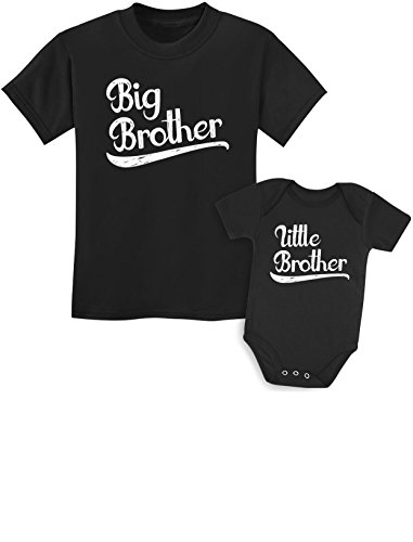 Sibling Shirts Set for Big Brothers and Little Brothers Boys Gift Set Kids Shirt Black/Baby Black Kids Shirt 5/6 / Baby 6M