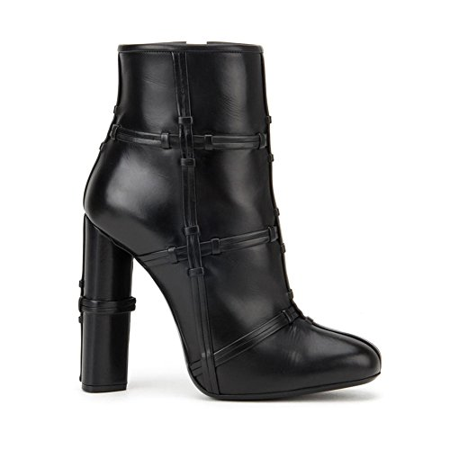 Stiefel Blockabsatz Kreuzknoten Damen 37 Seitlicher TLJ Heels KJJDE 071502 Reißverschluss Stiefel Party High Black Pumps xzYdqWwv1