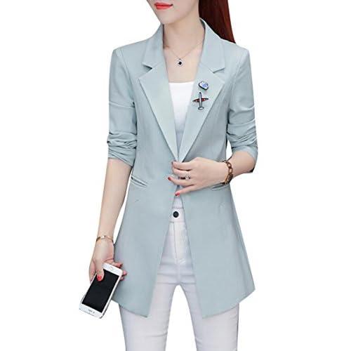 07d50e7d662 XQS Women s Notched Lapel Slim Blazer Long Work Trench Coat Jacket outlet