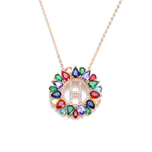 Guy-Sex Multicolor CZ Micro Pave Zircon Charm Necklace Fashion Gold 26 Alphabet Letter Pendant Necklace Letter Necklaces