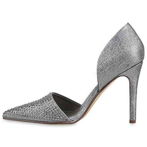 Stiefelparadies Spitze Damen Pumps Stiletto High Heels Metallic Schuhe Lack Absatzschuhe Elegante Abendschuhe Abiball Flandell Grau Glitzer Steinchen
