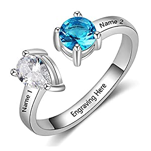 Love Jewelry Personalized 2 Names Simulated Birthstone Rings Engagement Promise Rings for Women Custom Friends Rings (1- Silver, 7)