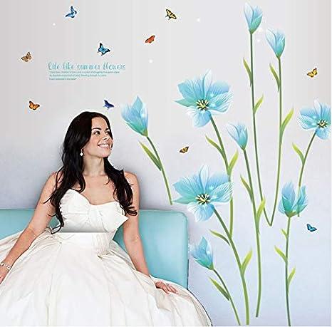 kdjshhs Etiqueta De La Pared Extraíble Lirio Azul Mariposa ...