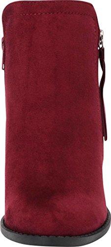Imsu Wine Zip Ankle Tassel Block Women's Select Bootie Western Stacked Chunky Cambridge Heel UaOw7qO