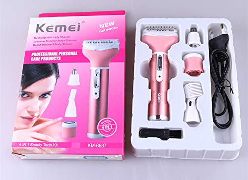 Electric shaver - Female Epilator Multifunction 4 In 1 Hair Removal Women Electric Shaver Rechargeable Nose Eyebrow Hair Clippers D43