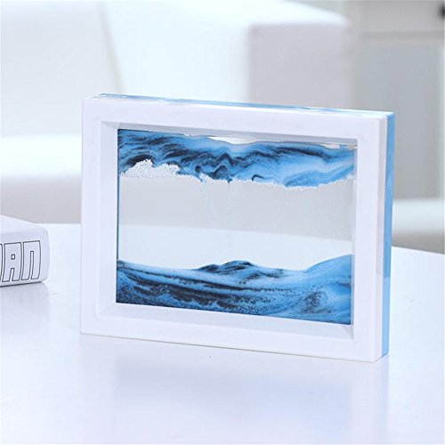 (PROW Dynamic 3D Natural Landscape Flowing Sand Picture Art Double Faced Double Color Moving Sand Picture Flowing Grit Photo Hourglass (Blue White))