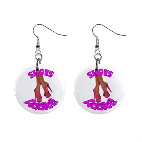 SHOE Addict Novelty Dangle Button Earrings Jewelry 1 inch Round 14006611