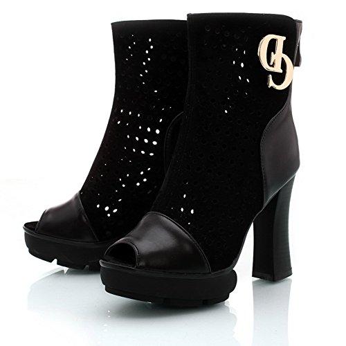 BeanFashion Womens Open Peep Toe High Heel Platform Chunky Heels PU Soft Material Solid Sandals, Black, 4.5 B(M) US
