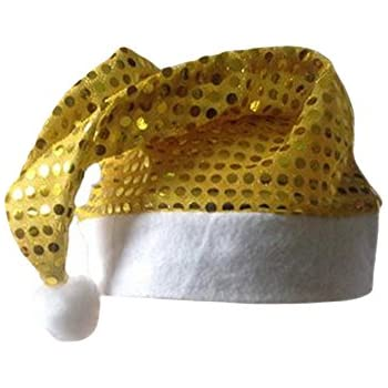 0f774403ba3e1 Bestgift Santa Hat Christmas Party Hats for Adults Gold Sequins Christmas  Hat 11 15 Inch
