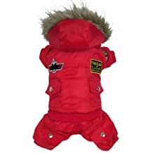 Wowshop Winter Thick Warm Small Dog Pet Clothes Outercoat Red Hoodie Jumpsuit Pants Cool (XL)