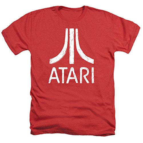 Atari Video Game Retro Logo Vintage Gaming Console T Shirt & Stickers (XXX-Large, Red Heather)