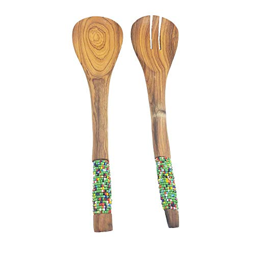 Set of 2 Maasai Masai Salad Green Yellow Beads Accented Serving Spoon and Fork
