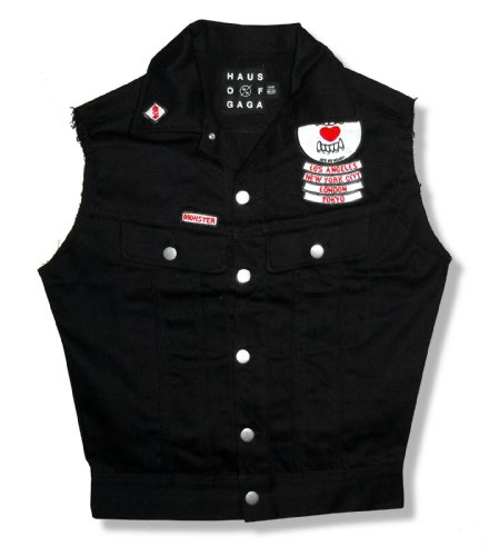 Lady Gaga - The Monster Ball Tour Ate My Heart Black Denim Vest New Ladies (Small)