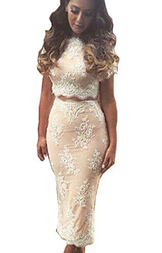Vakind® Sexy Women's Floral Lace Top Skirt Set 2 Piece Bodycon Dress Suit (Asian S)