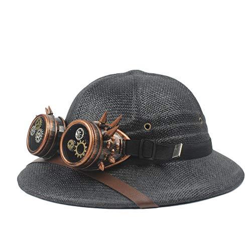 Fashion Hats, Caps,Elegant Hats, Natural Caps Steampunk Glasses Toquilla Straw Helmet Pith Sun Hats for Men Vietnam War Army Hat Dad Boater Bucket Hats Safari Jungle Miners Cap