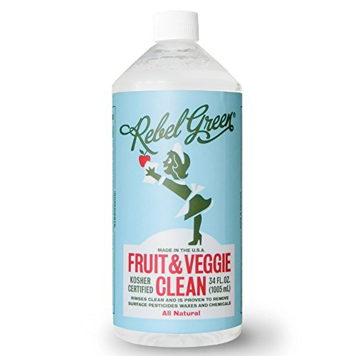 Rebel Green Fruit and Veggie Wash, Natural Fruit & Vegetable Produce Cleaner - 34 Ounce - And Vegetable Fruit Cleaner