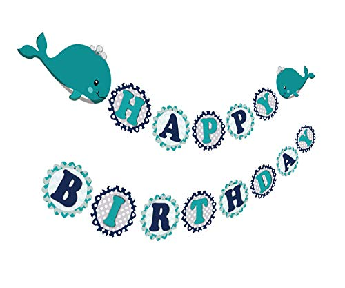 Whale Party Supplies (Gyzone Whale Baby Garland, Funny Pre-Strung Bday Sign for Kids Whale Baby Party Birthday Party Favor)