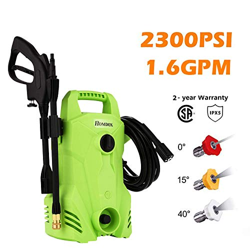 - Homdox 2300 PSI 1.6 GPM Electric Pressure Washer Power Washer Compact Professional Washer Cleaner Machine, 1400W Portable Electric Power Washer with External Detergent Dispenser, 3 Nozzles