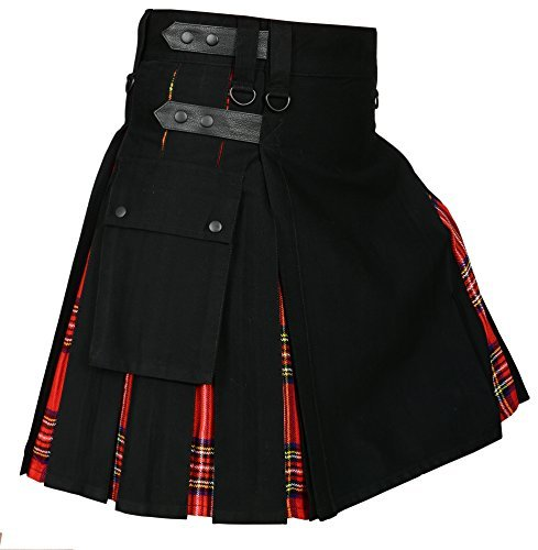 (Men 's Hybrid Utility Kilt Black & Royal Stewart Tartan (Belly Button 38))