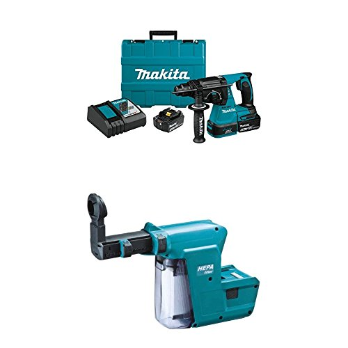 Makita XRH01T 18V LXT Lithium-Ion Brushless Cordless 1″ Rotary Hammer Kit (5.0Ah) with Makita DX01 Dust Extractor Attachment with HEPA Filter