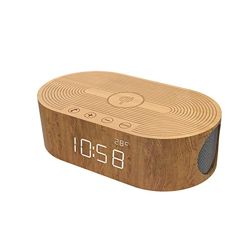 Digital Desk Clock and Wooden Digital Alarm Clock and Bluetooth Speaker QI Wireless Charging Multifunction -