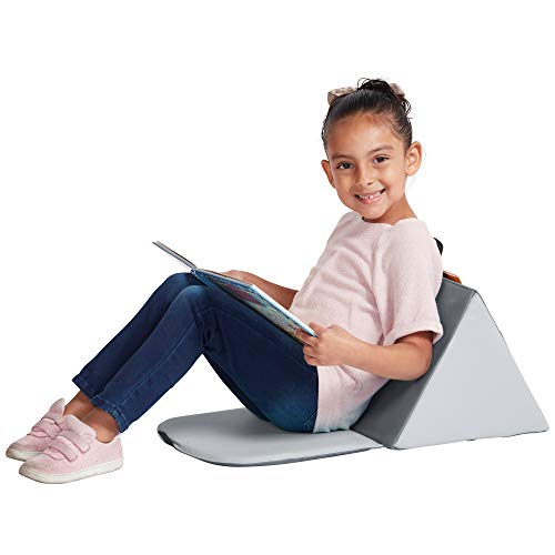 ECR4Kids SoftZone Carry Me Soft Seat with Storage Book Pocket and Handle - Portable Folding Seat/Reading Cushion for Kids and Toddlers, Grey/Light Grey - Multi Use Vinyl Seating