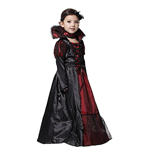 Witch Costume, Hmane Girls Fairy Halloween Cosplay Witch Costume Vampire Evil Queen Long Dress - Black + Dark Red M
