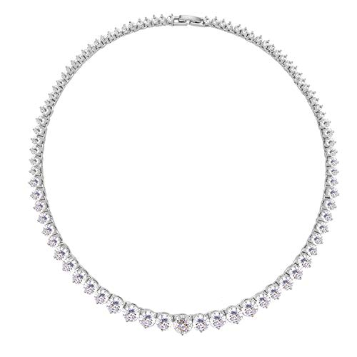 Lavencious Tennis AAA CZ Necklace Bridal Statement Wedding Party Jewelry Woman (Silver)