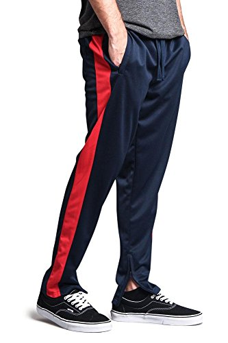 c73680b1ba893 Victorious G-Style USA Men's Side Stripe Ankle Zip Regular Fit Stretch  Drawstring Track Pants